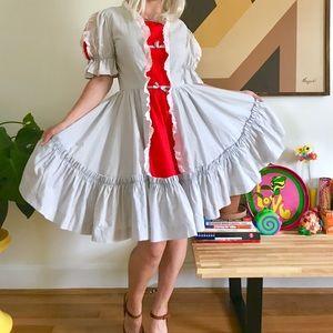 Vintage 70s square dancing full circle dress S-M